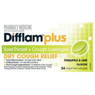 3 PACK OF Difflam Plus Sore Throat Lozenges + Cough Pineapple & Lime 24 Lozenges