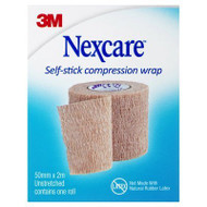 3 PACK OF Nexcare Self Stick Compression Wrap 50mm X 2m Tan 1 Pack