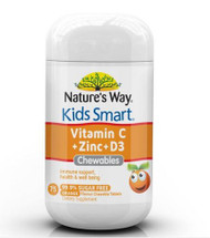 3 PACK OF Natures Way Kids Smart Vitamin C + Zinc + D3 75 Tablets