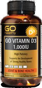 3 PACK OF Go Healthy Go Vitamin D3 1000IU 150 Capsules