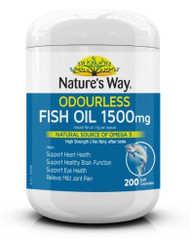 3 PACK OF Natures Way Odourless Fish Oil 1500mg 200 Capsules