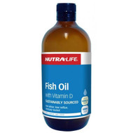 3 PACK OF Nutra Life Fish Oil With Vitamin D Liquid 500ml