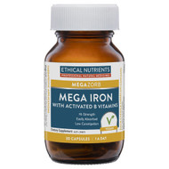 3 PACK OF Ethical Nutrients Megazorb Mega Iron with Activated B Vitamins 30 Capsules