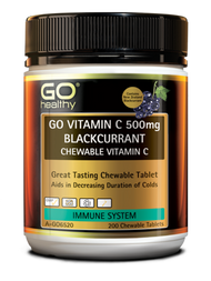 3 PACK OF Go Healthy Go Vitamin C 500mg Blackcurrant 200 Tablets