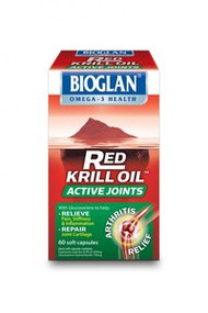 3 PACK OF Bioglan Red Krill Oil Active Joints With Glucosamine 60 Cap