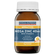3 PACK OF Ethical Nutrients Megazorb Mega Zinc 40mg With Vitamin C Orange 95g
