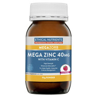 3 PACK OF Ethical Nutrients Megazorb Mega Zinc 40mg With Vitamin C Raspberry 95g