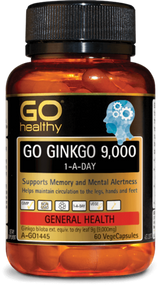 3 PACK OF Go Healthy Go Ginkgo 9000 1-A-Day 60 Capsules