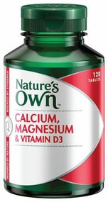 3 PACK OF Natures Own Calcium & Magnesium With D3 Tablets 120