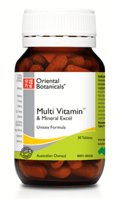 3 PACK OF Oriental Botanicals Multi Vitamin and Mineral Excel 30 Tablets