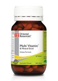 Oriental Botanicals Multi Vitamin and Mineral Excel 60 Tablets