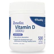 Faulding Remedies Vitamin D 1000 IU 500 Capsules