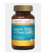 Herbs of Gold Lysine 1000 + Olive Leaf 100 Tablets