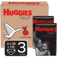 Huggies Special Delivery Baby Diapers Hypoallergenic Size 3 Economy Plus Pack -- 116 Diapers