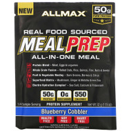 3 PACK of ALLMAX Nutrition, Real Food Sourced Meal Prep, All-In-One Meal, Blueberry Cobbler, 1.13 oz (32 g)