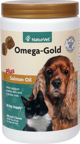 NaturVet Omega-Gold Plus Salmon Oil For Dogs and Cats -- 180 Soft Chews