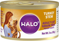 Halo Purely For Pets Adult Cat Wet Cat Food Grain Free Turkey Stew -- 3 oz Each / Pack of 12