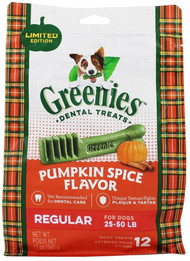 Greenies Dental Treats for Dogs Regular Size Pumpkin Spice -- 12 Dog Treats