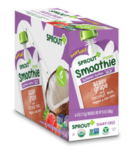 Sprout Organic Baby Food Smoothie Berry Grape with Coconut Milk Veggies & Flax Seed Toddler -- 4 oz Each / Pack of 6