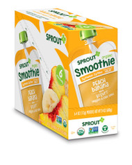 Sprout Organic Baby Food Smoothie Peach Banana with Yogurt Veggies & Flax Seed Toddler -- 4 oz Each / Pack of 6