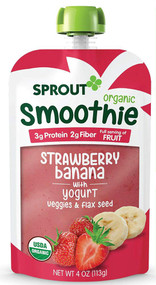 Sprout Organic Baby Food Organic Toddler Smoothie with Yogurt Strawberry Banana -- 4 oz Each / Pack of 6