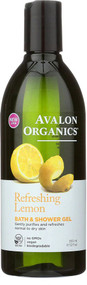 3 PACK of Avalon Organics Bath & Shower Gel Refreshing Lemon -- 12 fl oz