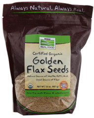 3 PACK of NOW Foods Real Food Certified Organic Golden Flax Seeds -- 32 oz