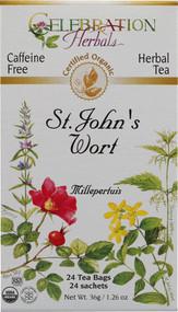 3 PACK of Celebration Herbals Organic St Johns Wort Tea Caffeine Free -- 24 Herbal Tea Bags