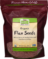 3 PACK of NOW Real Food Organic Flax Seeds -- 32 oz