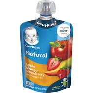 3 PACK of Gerber Smart Flow Toddler Pouch Apple Mango Strawberry -- 3.5 oz