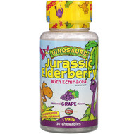 KAL, Dinosaurs, Jurassic Elderberry with Echinacea,  Natural Grape Flavor, 30 Chewables