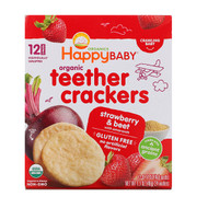 3 PACK OF Happy Family Organics, Organic Teether Crackers, Strawberry & Beet with Amaranth, 12 Packs, 0.14 oz (4 g) Each