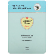 3 PACK OF Etude House, Wonder Pore, Bubble Cleansing Pad, 7 Sheets