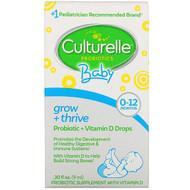 Culturelle, Probiotics, Baby, Grow + Thrive, Probiotics + Vitamin D Drops, 0-12 Months, .30 fl oz (9 ml)