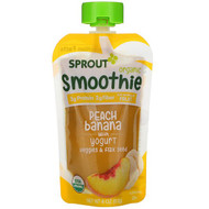3 PACK OF Sprout Organic, Smoothie, Peach Banana with Yogurt, Veggies & Flax Seed, 4 oz (113 g)