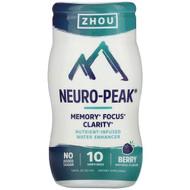 3 PACK OF Zhou Nutrition, Neuro-Peak, Nutrient-Infused Water Enhancer, Berry, 1.69 fl oz (50 ml)