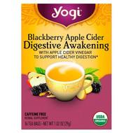 3 PACK OF Yogi Tea, Digestive Awakening, Blackberry Apple Cider, Caffeine Free, 16 Tea Bags, 1.02 oz (29 g)