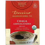 3 PACK OF Teeccino, Mushroom Herbal Tea, Organic Chaga Ashwagandha, Caffeine Free , 10 Tea Bags, 2.12 oz (60 g)