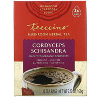 3 PACK OF Teeccino, Mushroom Herbal Tea, Cordyceps Schisandra, Caffeine Free, 10 Tea Bags, 2.12 oz (60 g)