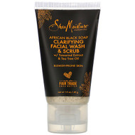 3 PACK OF SheaMoisture, African Black Soap, Clarifying Facial Wash & Scrub, 1.5 oz (43 g)