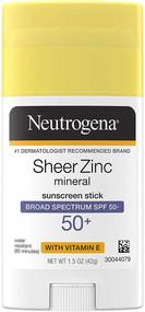 Neutrogena Sheer Zinc Mineral Sunscreen Stick SPF 50 plus -- 1.5 oz