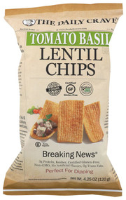 3 PACK OF The Daily Crave Lentil Chips Tomato Basil -- 4.25 oz