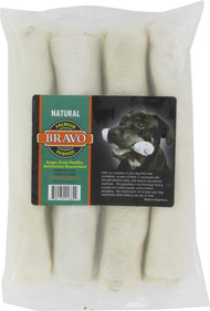 3 PACK OF Lennox Bravo Rawhide Express Natural Rawhide Curls Dog Treats -- 4 Dog Treats