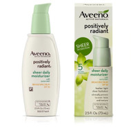 Aveeno Positively Radiant Sheer Daily Moisturizer with Sunscreen SPF 30 -- 2.5 fl oz