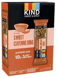 Kind Sweet & Spicy Bars 10g Protein Gluten Free Sweet Cayenne BBQ -- 12 Bars