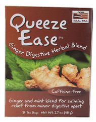 3 PACK of NOW Foods Real Tea Queeze Ease Ginger Digestive Herbal Blend -- 24 Tea Bags