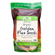 3 PACK of NOW Real Food Organic Golden Flax Seeds -- 16 oz
