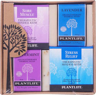 Plantlife Health-promoting Mineral Bath Salt Top 4 Pack Combo Soap Sore Muscle Detox Relax & Stress -- 1 Set
