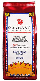 Puroast Ground Coffee Decaf Low Acid House Blend -- 12 oz