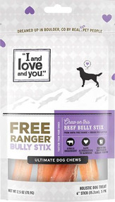 I and Love and You Free Ranger Stix 6 Inch Dog Chews Beef -- 5 Packs